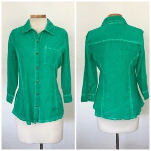 Style & Co Kelly Green Button Up Cotton Blouse